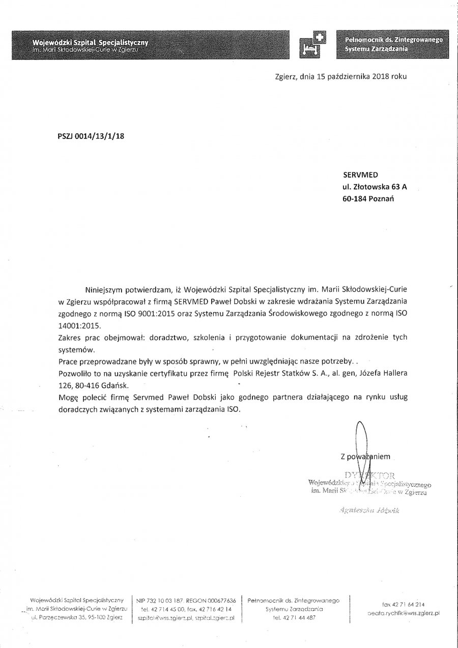 Wojewódzki Szpital Specjalistyczny im. M.Skłodowskiej-Curie w Zgierzu