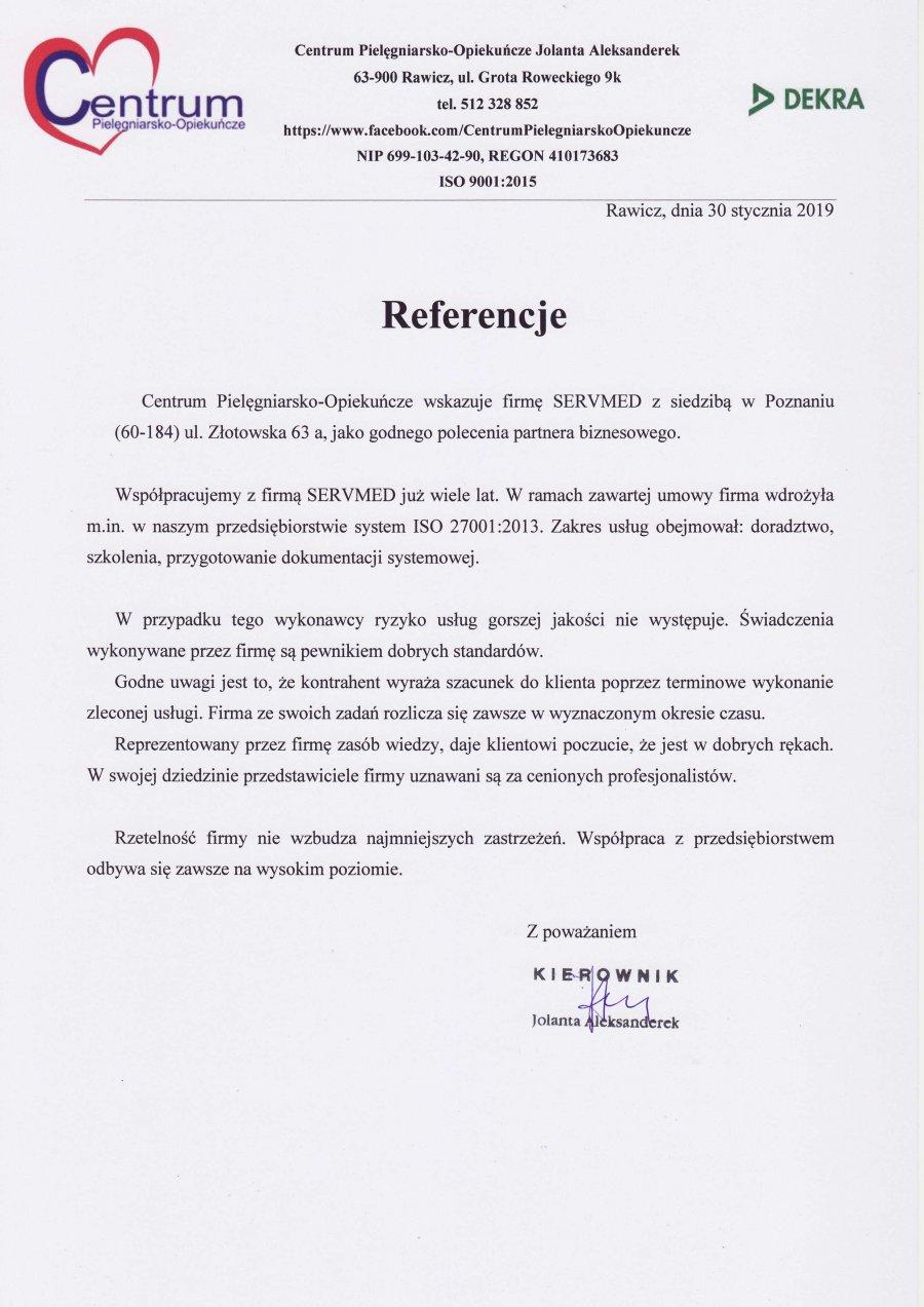 Centrum Pielęgniarsko-Opiekuńcze Jolanta Aleksanderek-Rawicz-ISO 27001