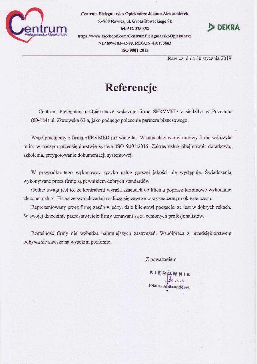 Centrum Pielęgniarsko-Opiekuńcze Jolanta Aleksanderek-Rawicz